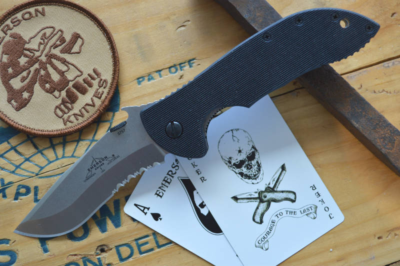 Emerson Knives Commander w/ Wave - Stonewash Partial Serrated Blade COMSFS - Northwest Knives