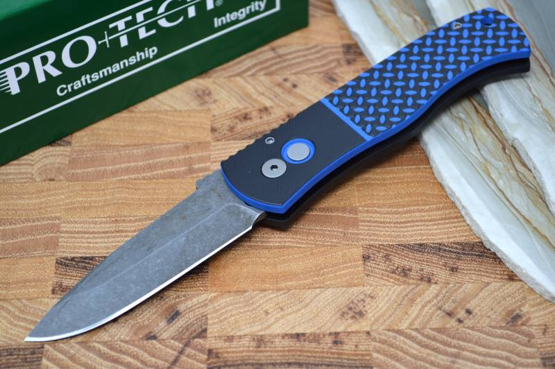Pro Tech Emerson Auto - Black & Blue G-10 Handle / Acid Washed Blade