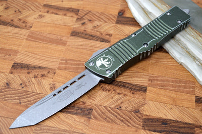 Microtech Combat Troodon OTF - Apocalyptic Blade / Tanto Style / Distressed OD Green Handle - 144-10DOD