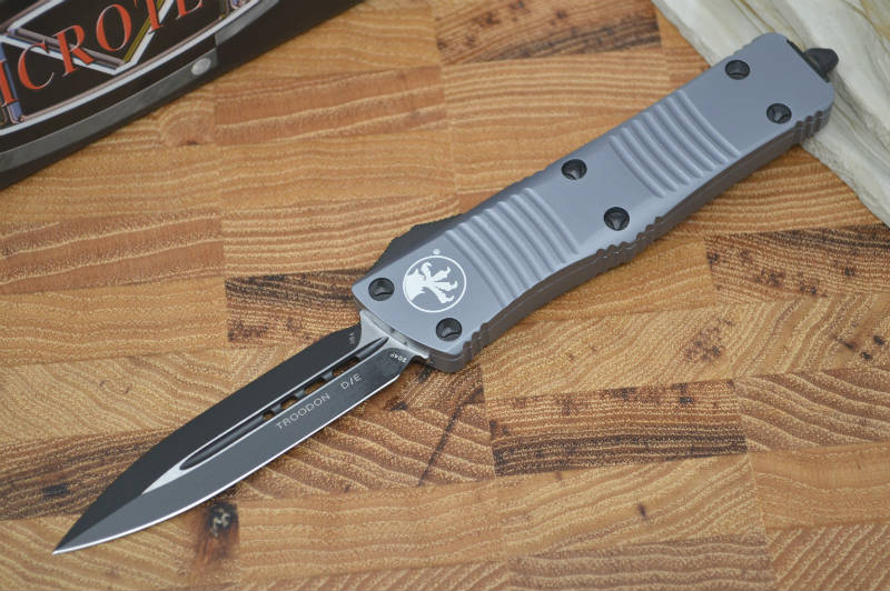 Microtech Troodon OTF - Double Edge / Black Plain Edge Blade / Gray - 138-1GY - Northwest Knives