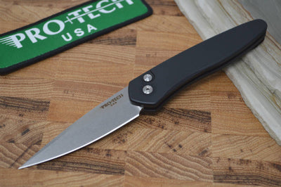 Pro Tech Newport Auto - Black Handle - S35VN Stonewash Blade - Northwest Knives