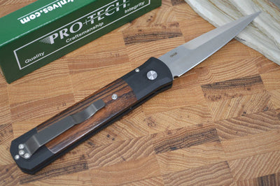 Pro Tech Godfather Auto - Black Handle w/ Cocobolo - 154CM Blade - Northwest Knives