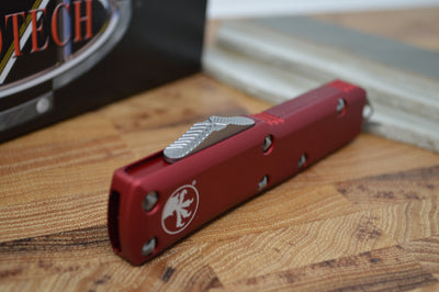 Microtech UTX-85 OTF - Single Edge / Satin Blade / Red Body - 231-4RD