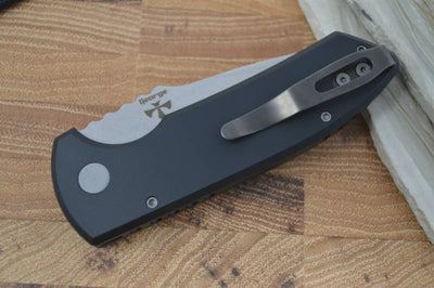 Pro Tech SBR Auto - Black Handle / Stonewash Plain Blade