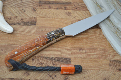 Arno Bernard Fin & Feather - Brown & Orange Kudu Bone / N690 Blade