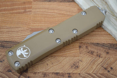 Microtech UTX-85 OTF - Single Edge / Partial Serrated Satin Blade / Tan Body - 231-5TA - Northwest Knives