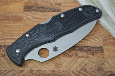 Spyderco Endura - Black Handle / Satin Serrated Wharncliffe Blade - C10FSWCBK - Northwest Knives