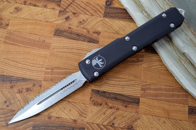Microtech Ultratech OTF - Stonewash Full Serrated Blade / Black Handle 122-12