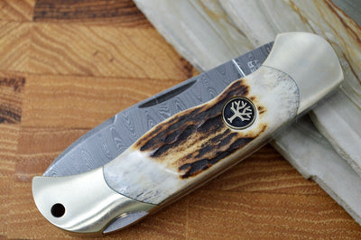 Boker Junior Scout Spearpoint Damascus - Stag Handle 111910DAM