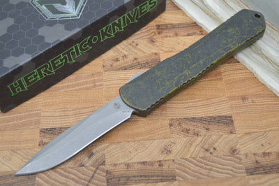 Heretic Knives Manticore X OTF - Break Through Green / Battle-worn Recurve Blade