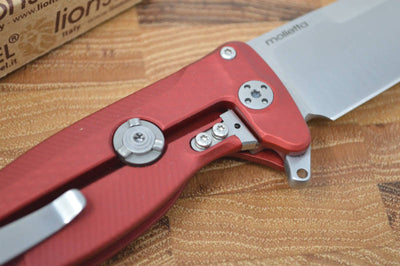 Lionsteel SR-22 Red Aluminum Integral Flipper - Satin Blade - SR22A-RS