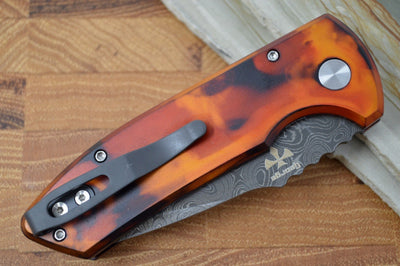 "Pro Tech SBR Auto Custom - ""Del Fuego"" Anodized Handle / Chad Nichols Damascus Blade LG-DFD20"
