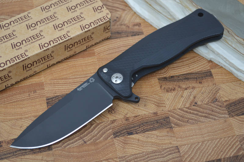 Lionsteel SR-11 Black Aluminum Integral Flipper - Black Blade - SR11A-BB - Northwest Knives