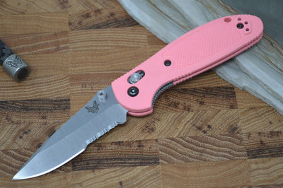 Benchmade 556S-PNK-S30V Mini Griptilian - Satin Combo Blade / Pink Handle - Northwest Knives