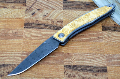 Chris Reeve Knives Mnandi Gentleman's Knife - Box Elder Wood Inlay w/ Chad Nichols Ladder Damascus (A2)