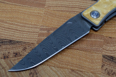 Chris Reeve Knives Mnandi Gentleman's Knife - Box Elder Wood Inlay w/ Chad Nichols Ladder Damascus (A1)