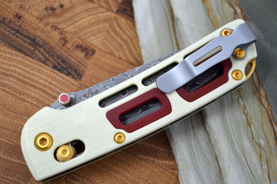 Benchmade 486 Saibu Gold Class - Rose Damasteel Blade / Ivory G10 Handle & Crimson G10 Inlays 486-201