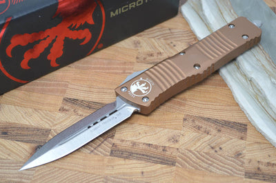 Microtech Combat Troodon OTF - Double Edge / Stonewash Blade / Tan Body - 142-10TA