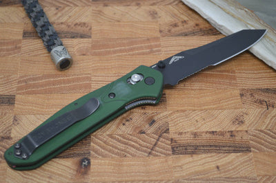 Benchmade 940SBK Osborne - Black Combo Blade / Green Handle
