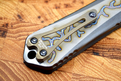 Heretic Knives Manticore X OTF Custom - Carbon Fiber and Flamed Titanium Handle / DLC Mirror Polished Blade