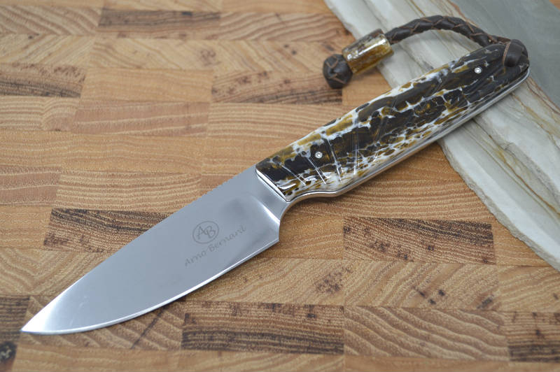 Arno Bernard Bongo - Kudu Bone Handle / N690 Blade / Kangaroo Lanyard - Fixed Blade - Northwest Knives