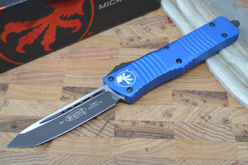 Microtech Combat Troodon OTF - Black Tanto Blade / Blue Body 144-1BL - Northwest Knives