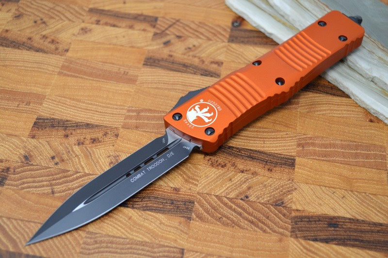 Microtech Combat Troodon OTF - Black Blade / Double Edge / Orange Handle - 142-1OR
