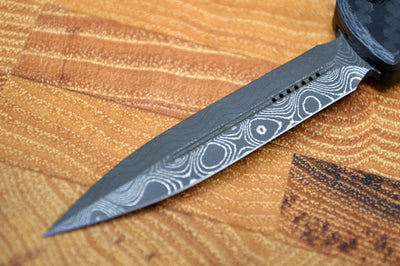 Microtech UTX-70 OTF Signature Series - Damascus Dagger Blade / Carbon Fiber Top / Ringed Hardware 147-16CFS