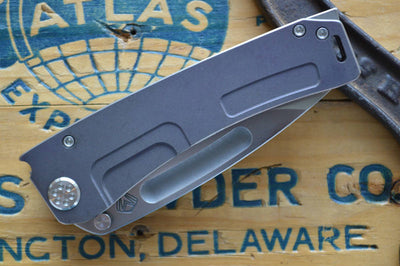 Medford Knife & Tool Marauder Custom- Violet Anodized Scales & 3V Blade  - Manual Folder