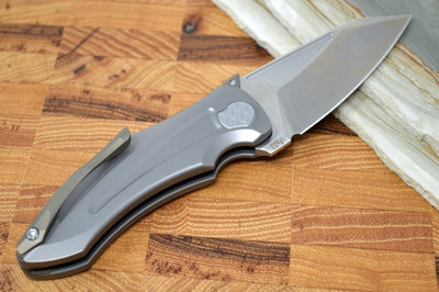 Jake Hoback Knives Sumo - Stonewash Blade / CPM-20CV / Titanium Handle & Bronze Anodized Accents