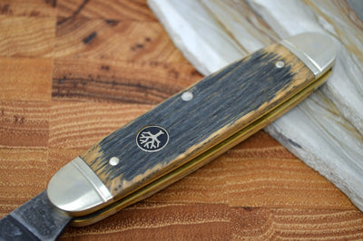 Boker Club Knife Castle Burg Slipjoint - Oak Wood Handle 113909