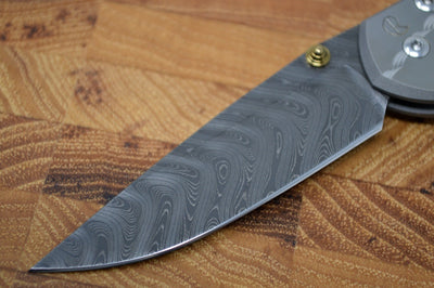 "Chris Reeve Knives Small Sebenza 31 - Unique Graphics ""Solar Vortex"" / Boomerang Damascus / Black Mother of Pearl"