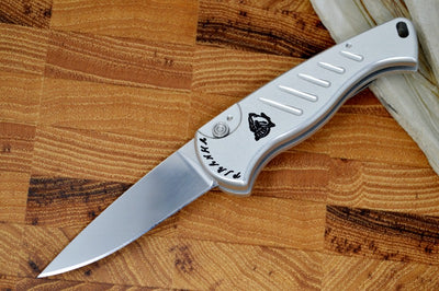 "Piranha Knives ""Fingerling"" - 154CM Blade / Silver Aluminum Handle"