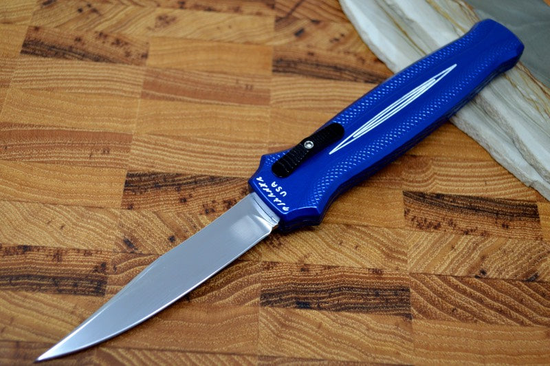 "Piranha Knives ""Rated-R"" - 154CM Blade / Blue Aluminum Handle"