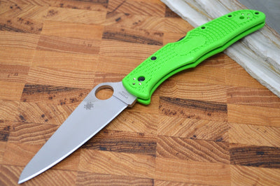 Spyderco Pacific 2 - Green FRN Handle / Satin Plain LC200N Blade - C91FPGR2