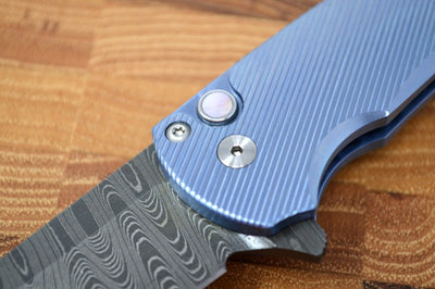 Pro Tech Malibu Custom -  Chad Nichols Damascus blade / Blue Titanium Handle 5142-BLUE