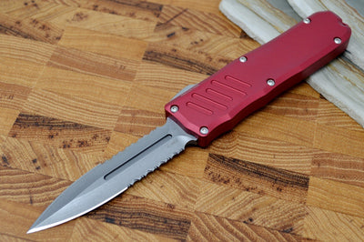 Guardian Tactical Recon 035 - Stonewash Partial Serrated Dagger Blade / Red Aluminum Handle 94532