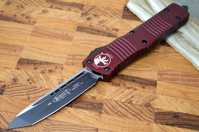 Microtech Combat Troodon OTF - Black Blade / Tanto Style / Merlot Handle - 144-1MR