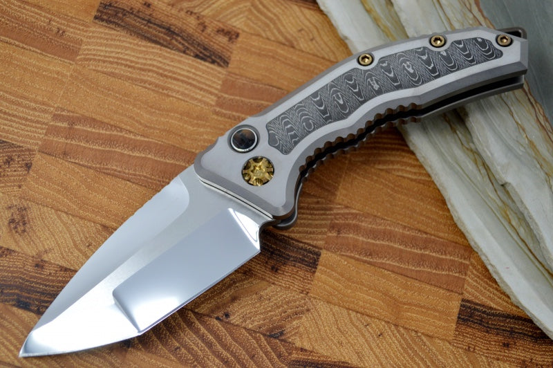 Heretic Knives Medusa Auto Custom - Tanto Mirror Polished Blade / VF Damascus Inlay / Mammoth Inlay Button #002