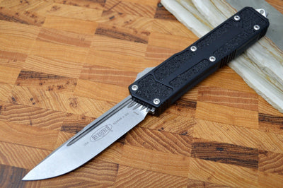 Microtech Scarab II OTF - Stonewash Finish / Single Edge / Aluminum Black Handle  - 278-10