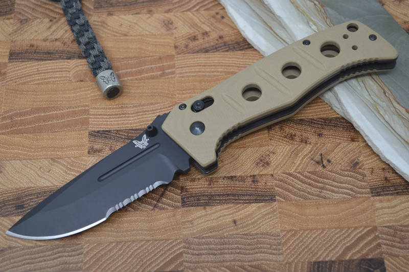 Benchmade 275SBKSN Adamas - Black Combo Blade / Sand Handle - Northwest Knives