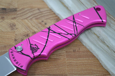 "Piranha Knives ""Pocket"" - 154CM Blade / Pink Aluminum Handle"