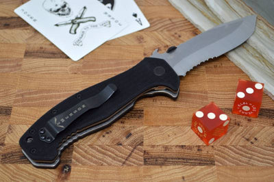 Emerson Knives CQC-15-SFS w/ Wave Feature - Stonewash Tanto Serrated Blade
