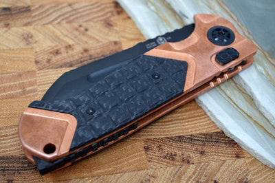 Heretic Knives Butcher Auto - CF & Copper Handle / Black DLC Blade