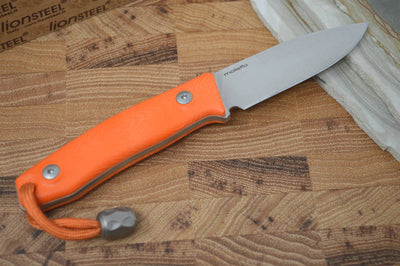 Lionsteel M1 Hunting Knife w/ Orange G-10 Handle - Fixed Blade