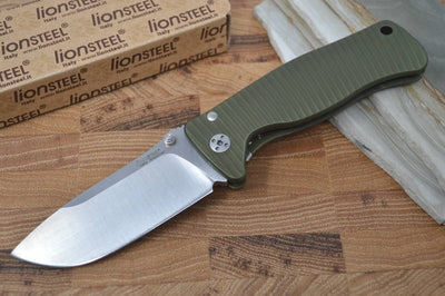 Lionsteel SR2A-GS Aluminum Green Handle / Satin Blade - Northwest Knives