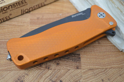 Lionsteel SR-22 Orange Aluminum Integral Flipper - Black Blade - SR22A-OB