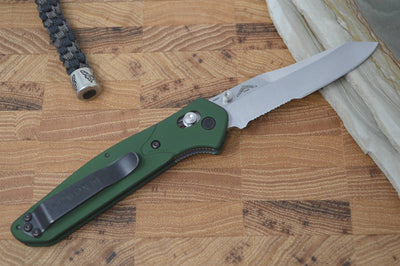 Benchmade 940S Osborne - Satin Combo Blade / Green Handle - Northwest Knives