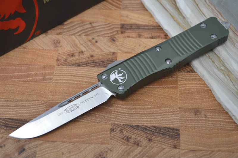 Microtech Troodon OTF - Single Edge Satin / OD Green Handle - 139-4OD - Northwest Knives