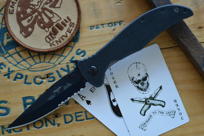 Emerson Knives Gentleman Jim w/ Wave - Black Partial Serrated Blade GENJMBTS - Manual Folder